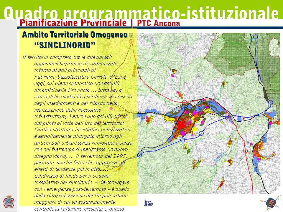 Pianificazione Provinciale | PTC Ancona Quadro programmatico-istituzionale Ambito Territoriale Omogeneo SINCLINORIO Il territorio compreso tra le due