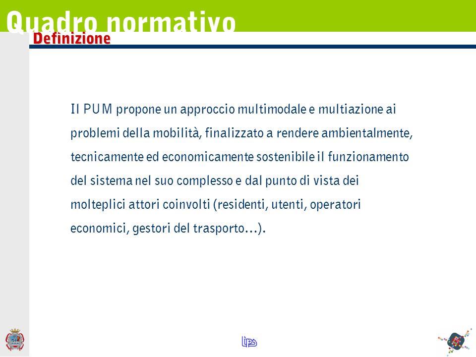 Il PUM propone un approccio multimodale e multiazione ai problemi della mobilità, finalizzato a rendere ambientalmente, tecnicamente ed economicamente