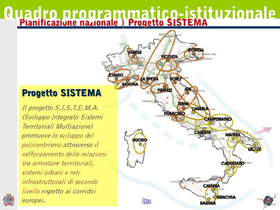 Pianificazione nazionale | Progetto SISTEMA Quadro programmatico-istituzionale Progetto SISTEMA Il progetto S.I.S.T.E.M.A. (Sviluppo Integrato Sistemi