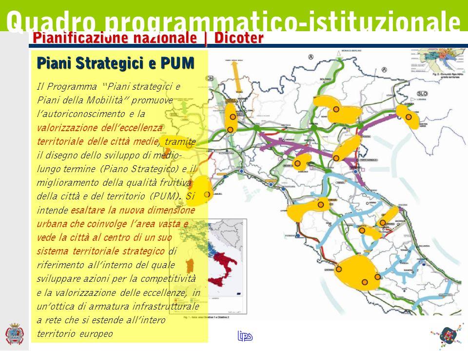Pianificazione nazionale | Dicoter Quadro programmatico-istituzionale Piani Strategici e PUM Il Programma Piani strategici e Piani della Mobilità prom