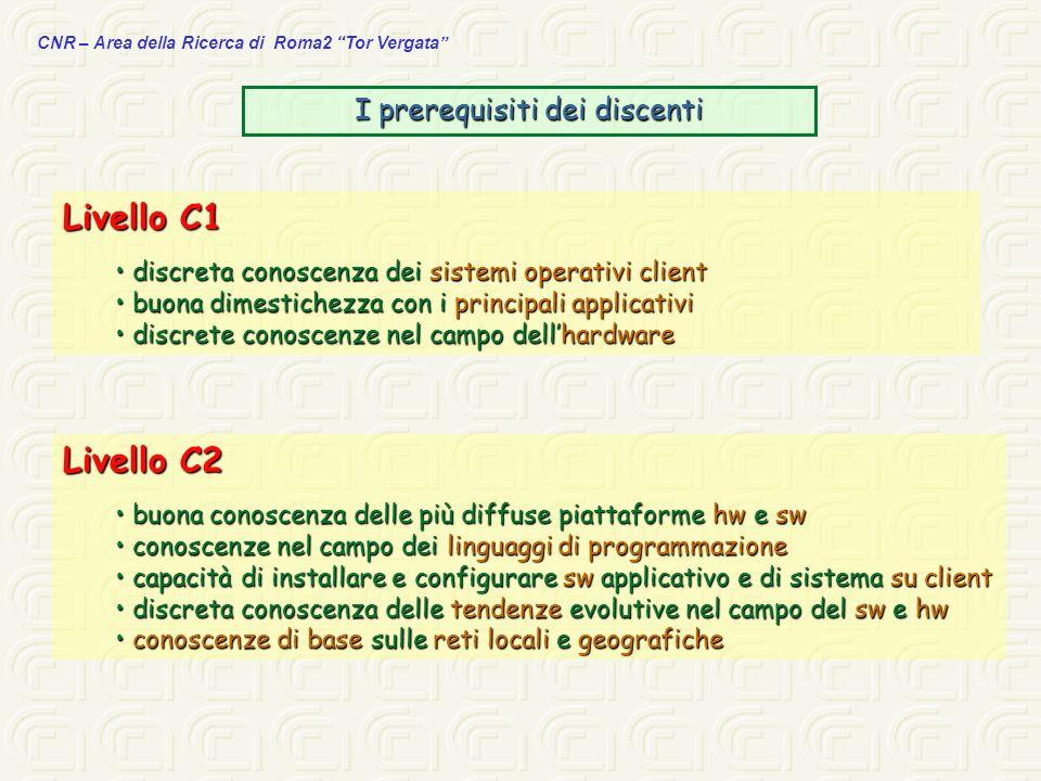 CNR – Area della Ricerca di Roma2 Tor Vergata I prerequisiti dei discenti Livello C1 discreta conoscenza dei sistemi operativi client discreta conosce