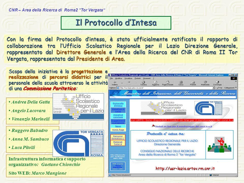 CNR – Area della Ricerca di Roma2 Tor Vergata Infrastruttura informatica e supporto organizzativo: Gaetano Chionchio Sito WEB: Marco Mangione Con la f