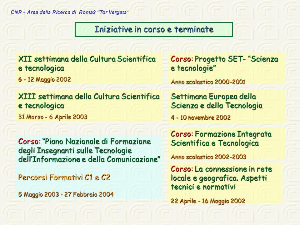 CNR – Area della Ricerca di Roma2 Tor Vergata Iniziative in corso e terminate XII settimana della Cultura Scientifica e tecnologica 6 - 12 Maggio 2002