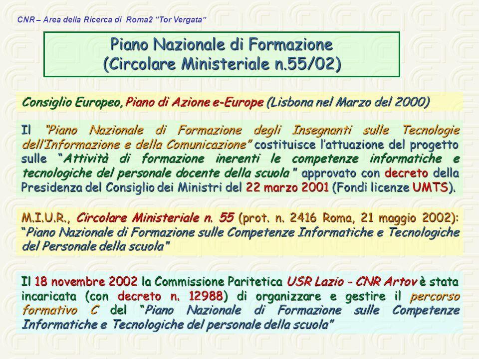 CNR – Area della Ricerca di Roma2 Tor Vergata CM 55/02 online Documenti di riferimento: Progetto Tecnico Progetto Tecnico Linee Guida Linee Guida Percorso Formativo A Percorso Formativo A Percorso Formativo B Percorso Formativo B Percorso Formativo C Percorso Formativo C Tabella A Tabella A Tabella B Tabella B HTTP://www.istruzione.it/news/2002/cm55_02.shtml
