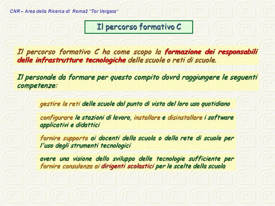 CNR – Area della Ricerca di Roma2 Tor Vergata Il percorso formativo C Il percorso formativo C ha come scopo la formazione dei responsabili delle infra