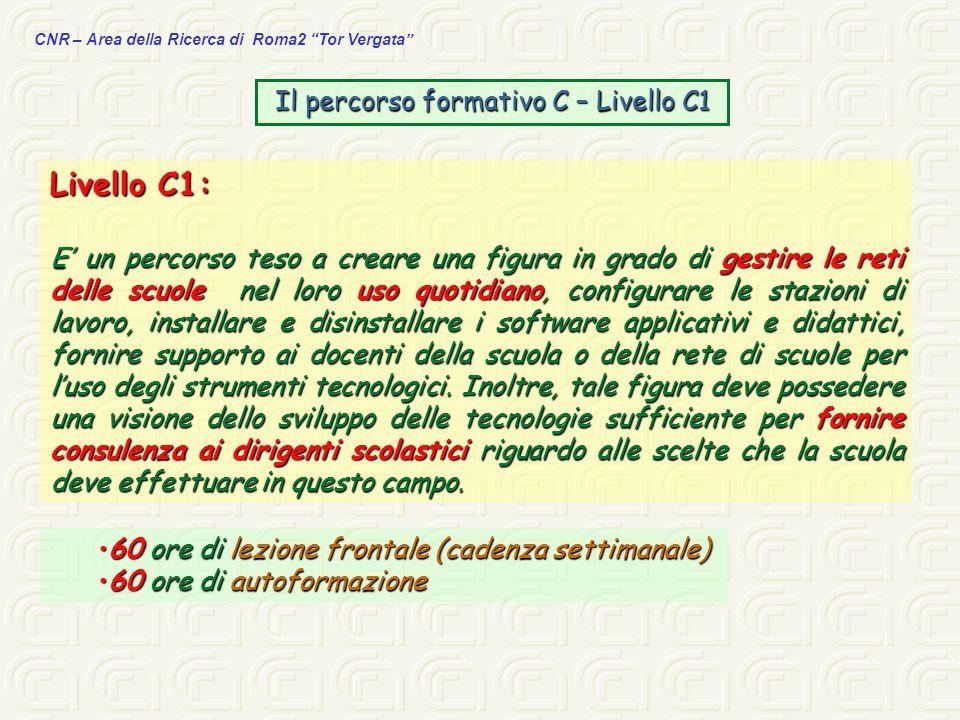 CNR – Area della Ricerca di Roma2 Tor Vergata Il percorso formativo C – Livello C1 Livello C1: E un percorso teso a creare una figura in grado di gest