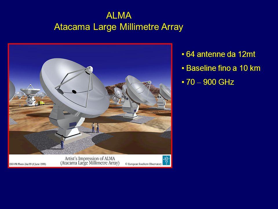 ALMA Atacama Large Millimetre Array 64 antenne da 12mt Baseline fino a 10 km 70 900 GHz