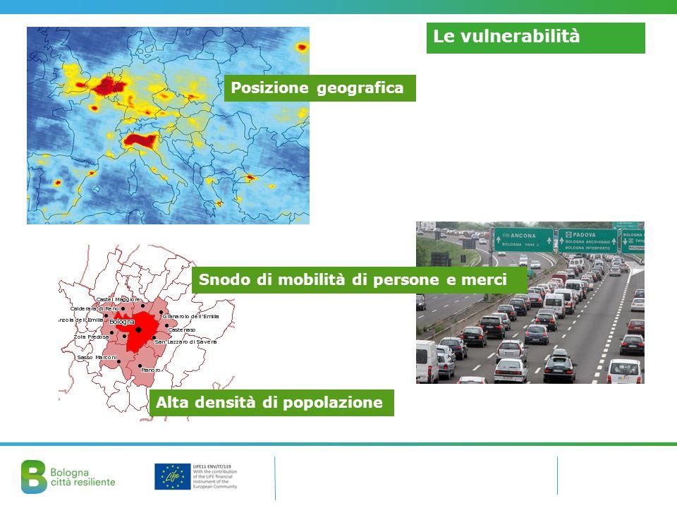 Le vulnerabilità Posizione geografica Alta densità di popolazione Snodo di mobilità di persone e merci
