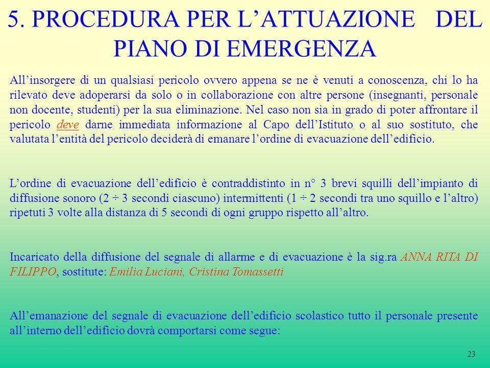 5. PROCEDURA PER LATTUAZIONE DEL PIANO DI EMERGENZA Allinsorgere di un qualsiasi pericolo ovvero appena se ne è venuti a conoscenza, chi lo ha rilevat