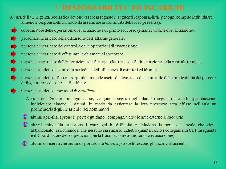 3. RESPONSABILITA ED INCARICHI A cura della Dirigenza Scolastica devono essere assegnate le seguenti responsabilità (per ogni compito individuare alme