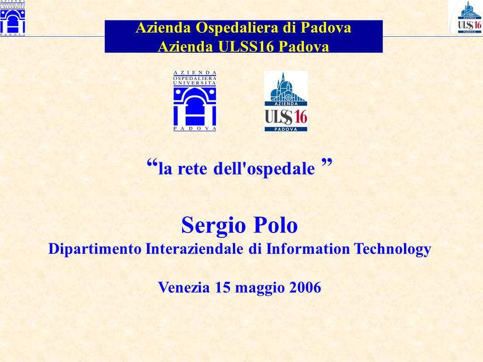 la rete dell'ospedale Sergio Polo Dipartimento Interaziendale di Information Technology Venezia 15 maggio 2006 Azienda Ospedaliera di Padova Azienda U