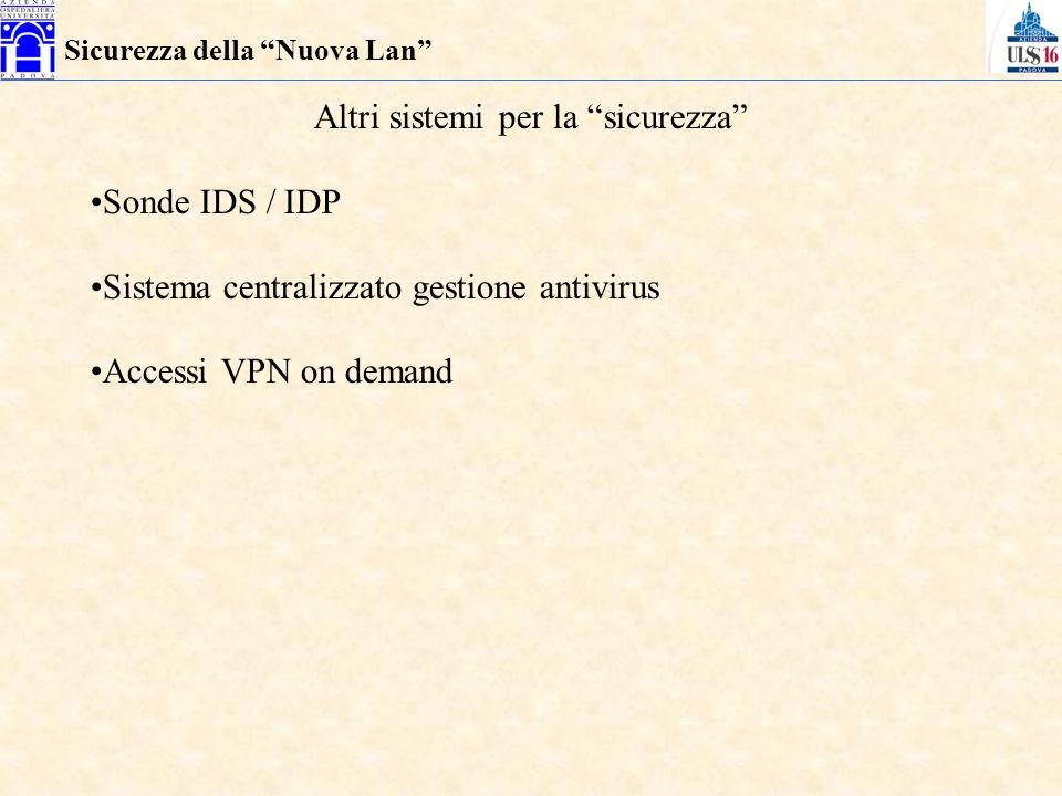 Sicurezza della Nuova Lan Altri sistemi per la sicurezza Sonde IDS / IDP Sistema centralizzato gestione antivirus Accessi VPN on demand
