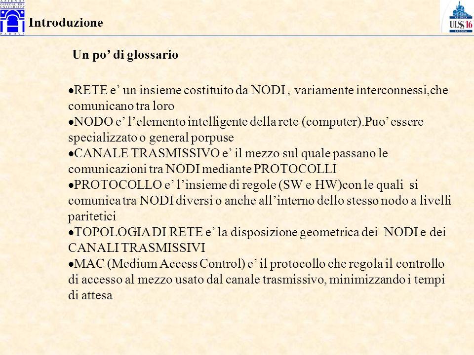 RETE e un insieme costituito da NODI, variamente interconnessi,che comunicano tra loro NODO e lelemento intelligente della rete (computer).Puo essere