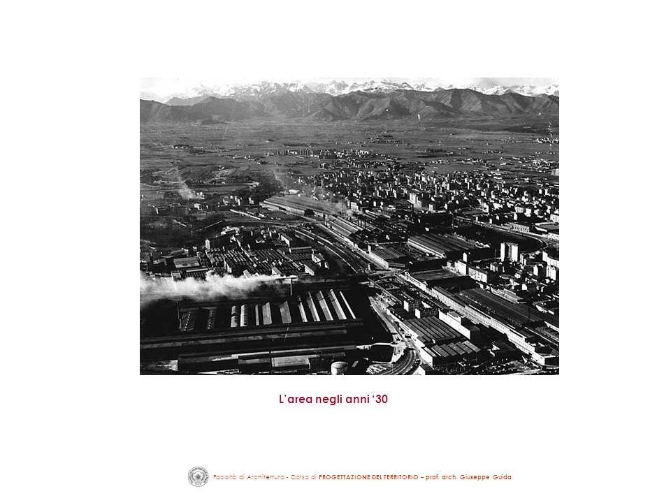 Facoltà di Architettura - Corso di PROGETTAZIONE DEL TERRITORIO – prof. arch. Giuseppe Guida Larea negli anni 30