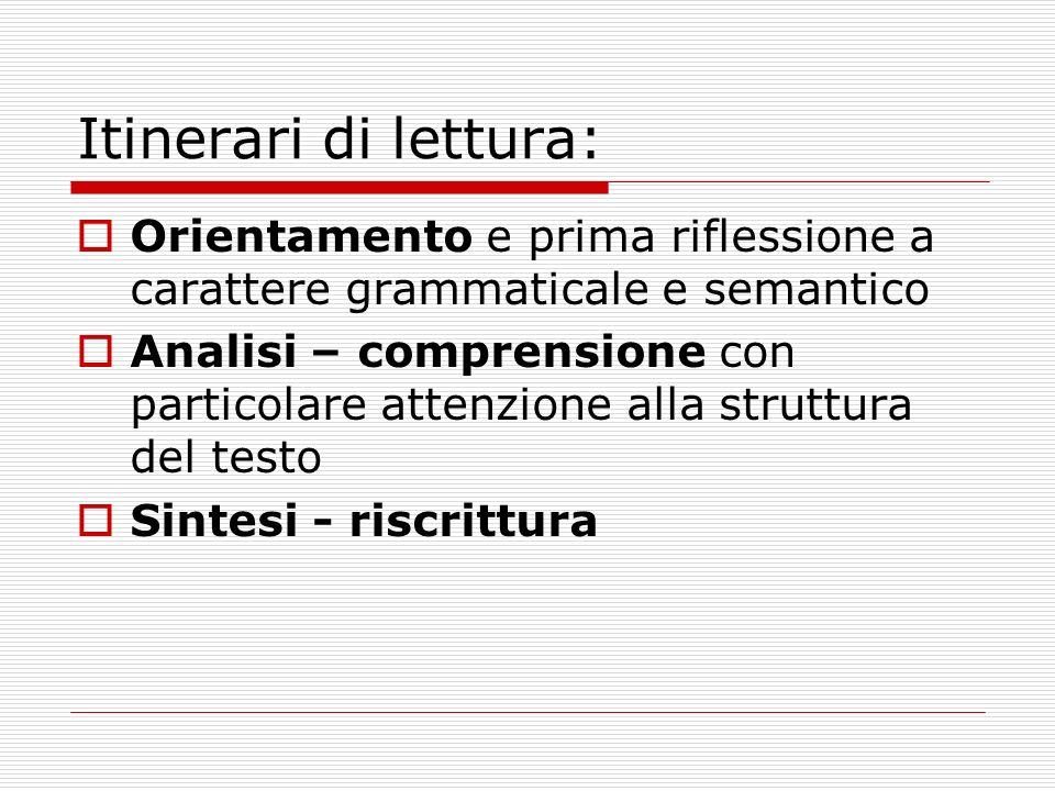 Itinerari di lettura: Orientamento e prima riflessione a carattere grammaticale e semantico Analisi – comprensione con particolare attenzione alla struttura del testo Sintesi - riscrittura