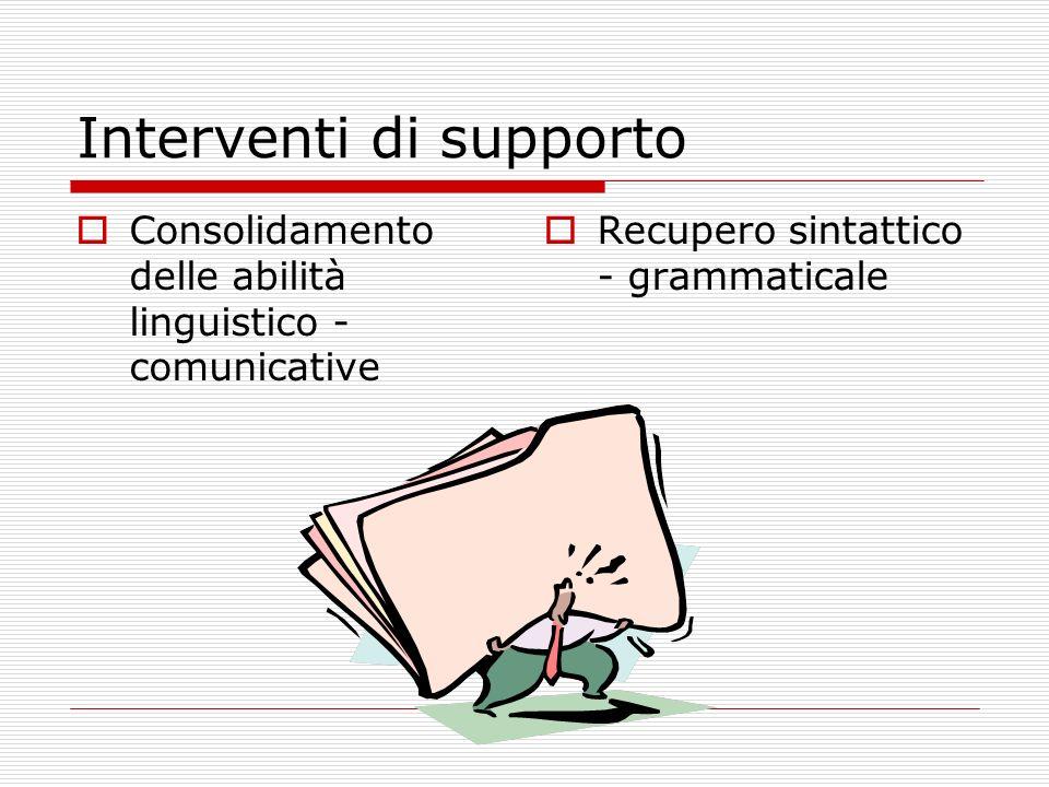 Interventi di supporto Consolidamento delle abilità linguistico - comunicative Recupero sintattico - grammaticale