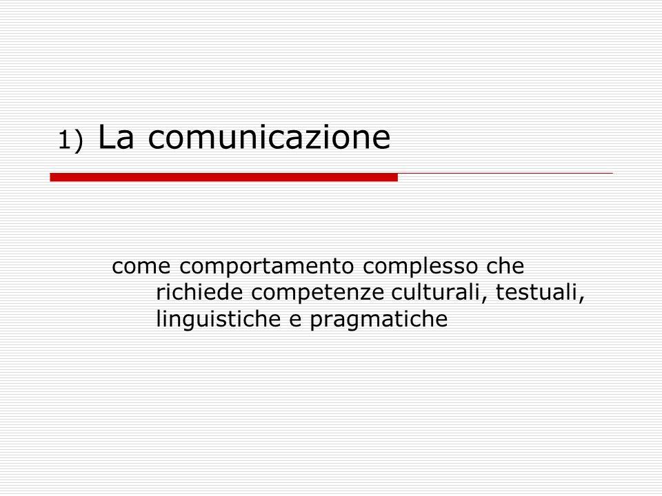 1) La comunicazione come comportamento complesso che richiede competenze culturali, testuali, linguistiche e pragmatiche