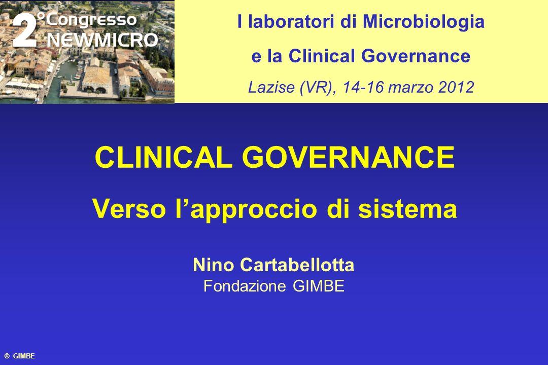 © GIMBE CLINICAL GOVERNANCE Verso lapproccio di sistema I laboratori di Microbiologia e la Clinical Governance Lazise (VR), 14-16 marzo 2012 Nino Cart