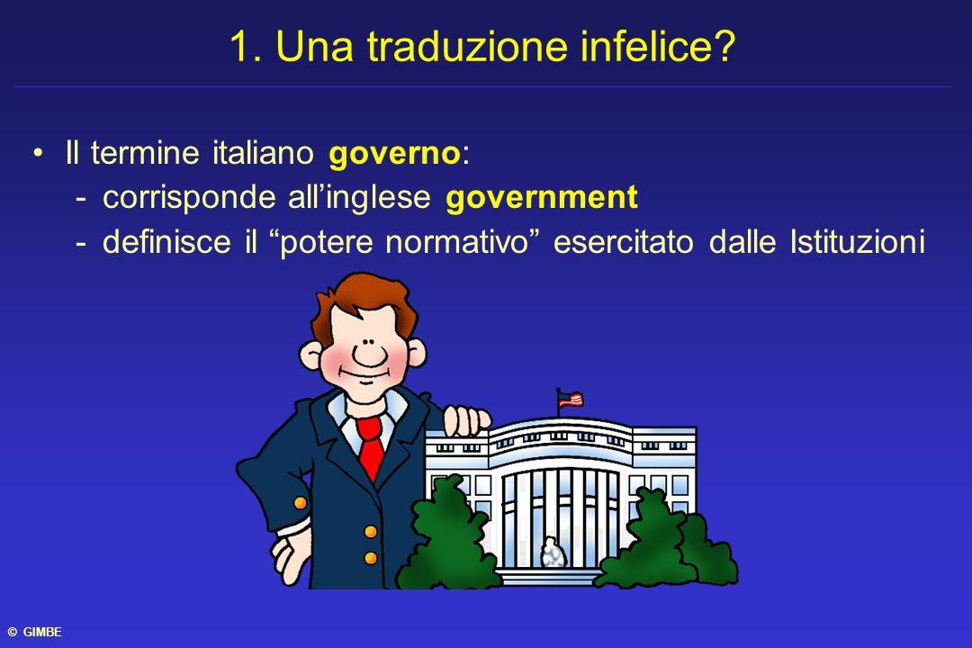 Il termine italiano governo: -corrisponde allinglese government -definisce il potere normativo esercitato dalle Istituzioni 1. Una traduzione infelice