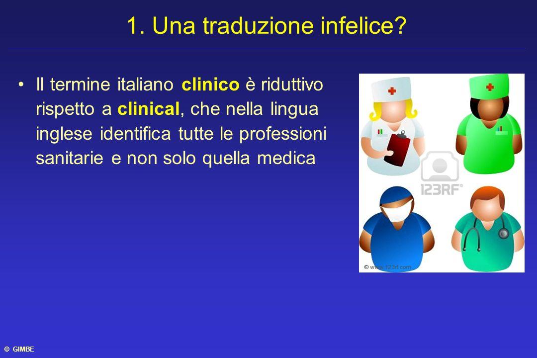 Il termine italiano clinico è riduttivo rispetto a clinical, che nella lingua inglese identifica tutte le professioni sanitarie e non solo quella medi