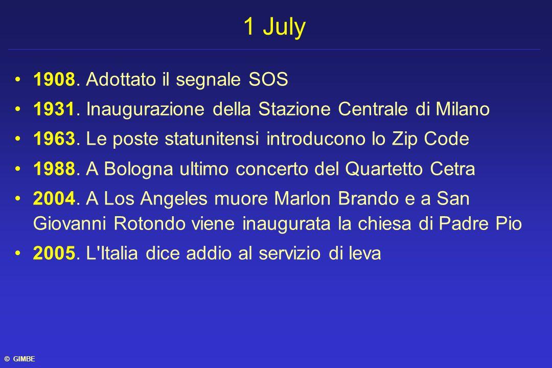 1908. Adottato il segnale SOS 1931. Inaugurazione della Stazione Centrale di Milano 1963. Le poste statunitensi introducono lo Zip Code 1988. A Bologn