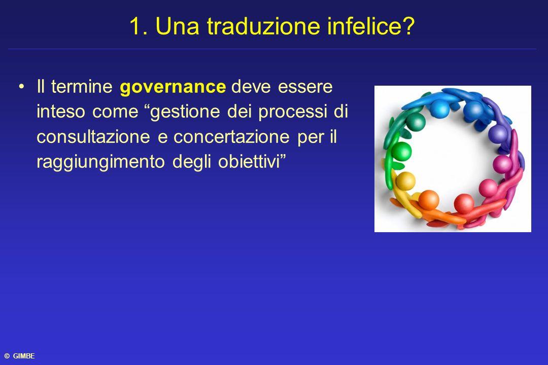 Il termine governance deve essere inteso come gestione dei processi di consultazione e concertazione per il raggiungimento degli obiettivi 1. Una trad