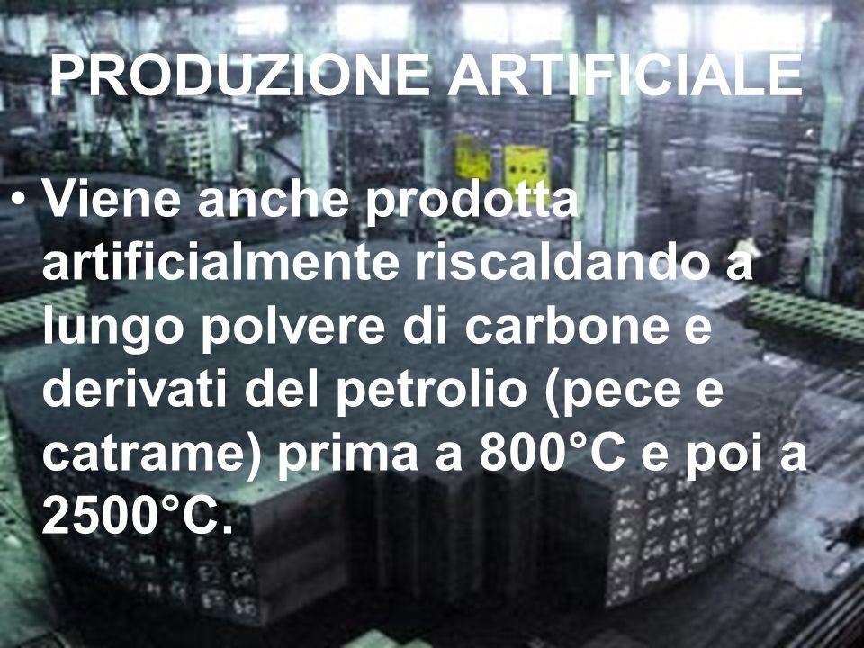 PRODUZIONE ARTIFICIALE Viene anche prodotta artificialmente riscaldando a lungo polvere di carbone e derivati del petrolio (pece e catrame) prima a 80