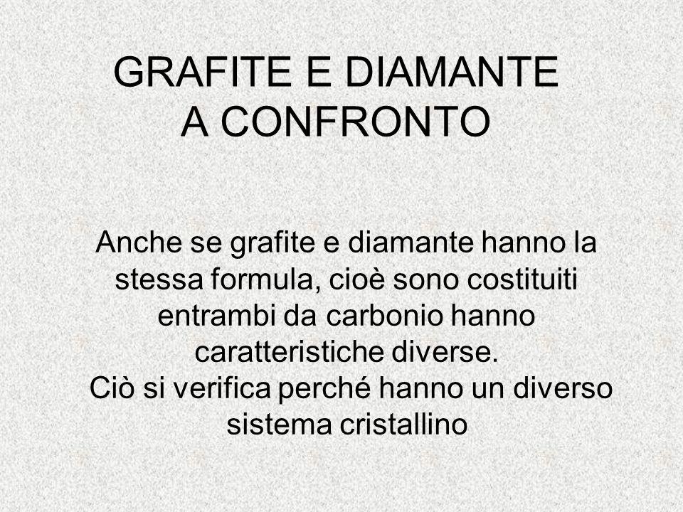 GRAFITE E DIAMANTE A CONFRONTO Anche se grafite e diamante hanno la stessa formula, cioè sono costituiti entrambi da carbonio hanno caratteristiche di