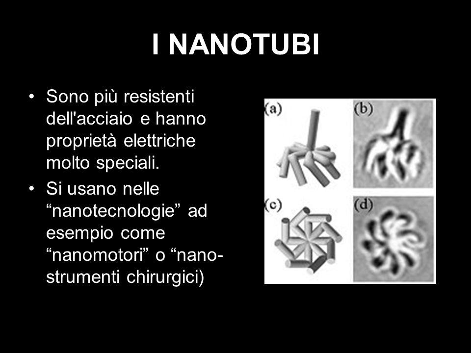 I NANOTUBI Sono più resistenti dell'acciaio e hanno proprietà elettriche molto speciali. Si usano nelle nanotecnologie ad esempio come nanomotori o na