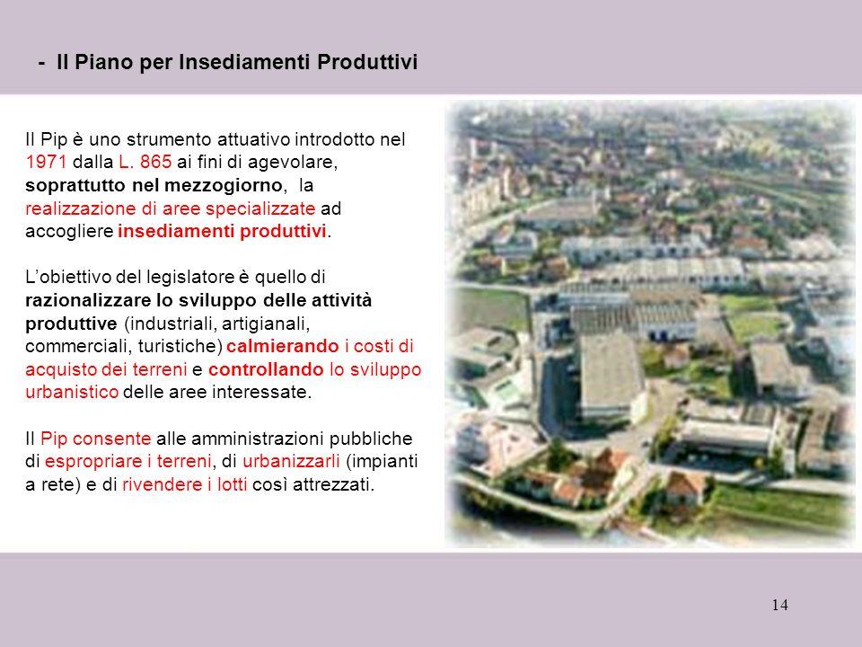 14 - Il Piano per Insediamenti Produttivi Il Pip è uno strumento attuativo introdotto nel 1971 dalla L.