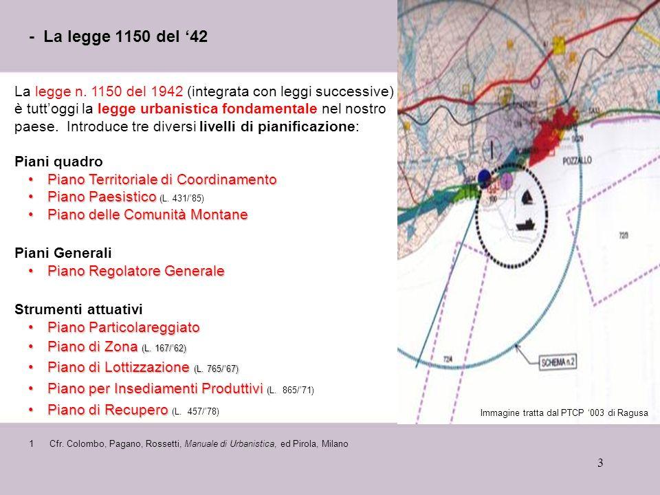 3 - La legge 1150 del 42 1Cfr. Colombo, Pagano, Rossetti, Manuale di Urbanistica, ed Pirola, Milano Immagine tratta dal PTCP 003 di Ragusa La legge n.