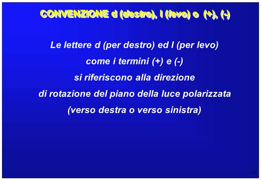 240 CONVENZIONE d (destro), l (levo) o (+), (-) Le lettere d (per destro) ed l (per levo) come i termini (+) e (-) si riferiscono alla direzione di ro