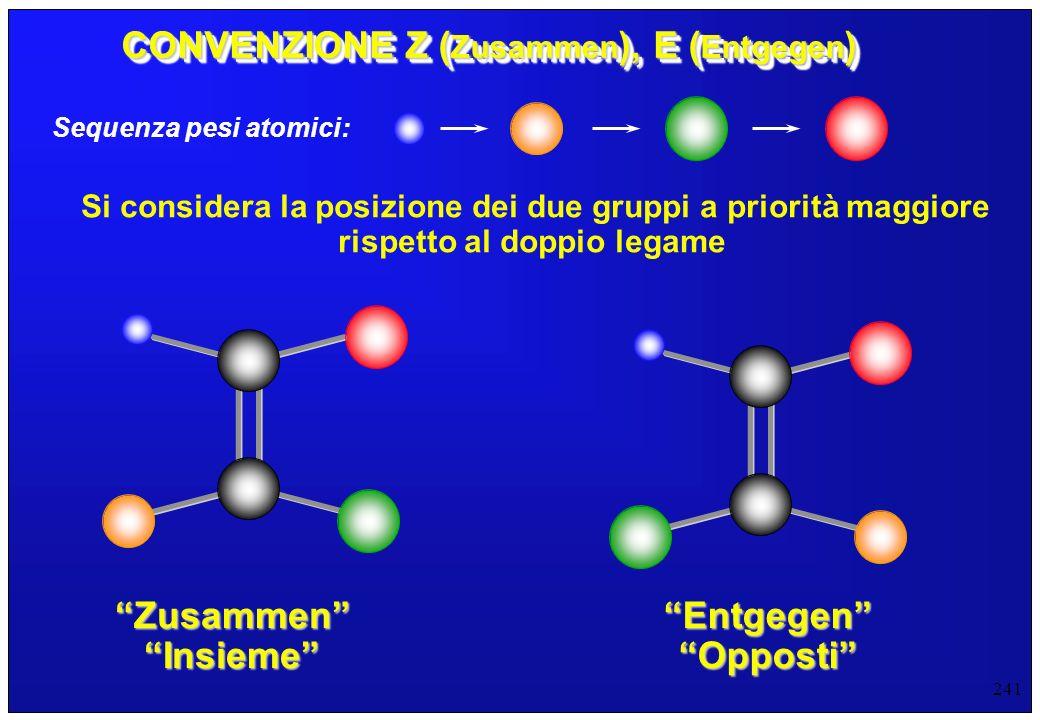 241 CONVENZIONE Z ( Zusammen ), E ( Entgegen ) Sequenza pesi atomici: Si considera la posizione dei due gruppi a priorità maggiore rispetto al doppio