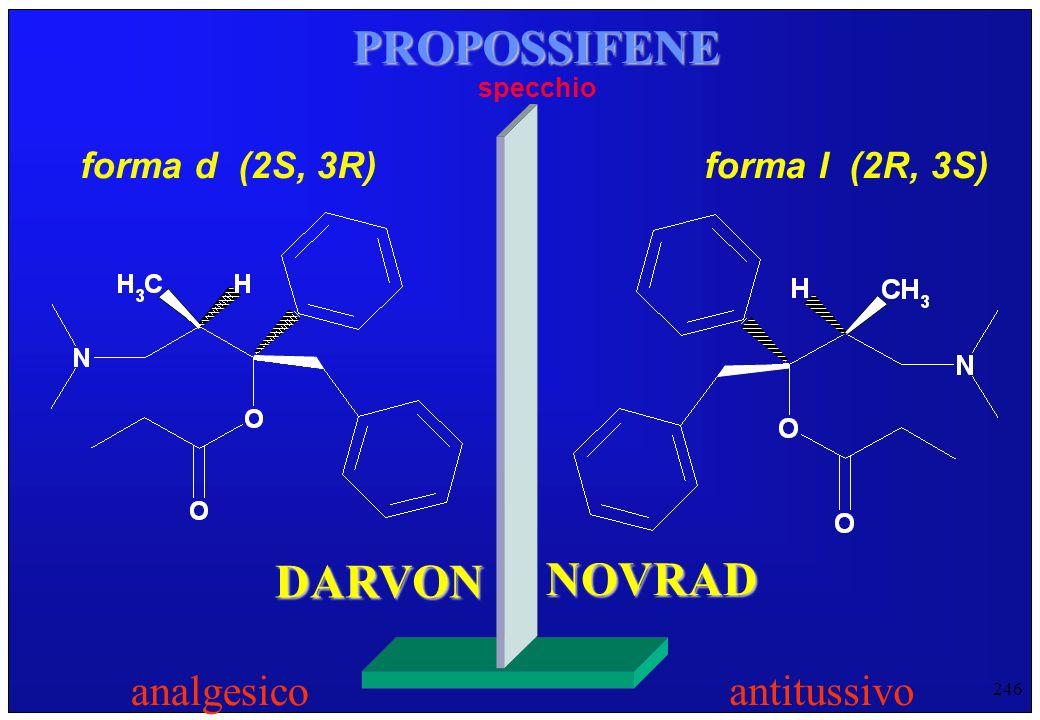 246 PROPOSSIFENE forma d (2S, 3R) specchio forma l (2R, 3S) DARVON NOVRAD analgesico antitussivo