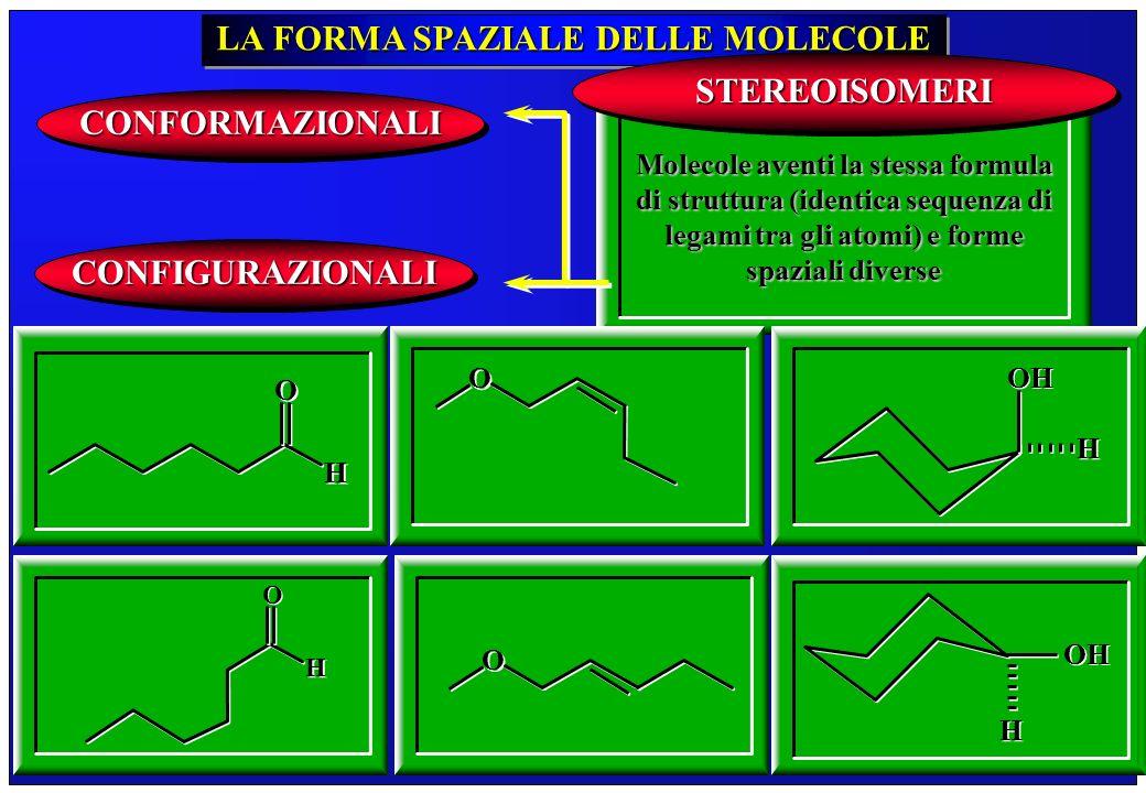 253 LA FORMA SPAZIALE DELLE MOLECOLE Molecole aventi la stessa formula di struttura (identica sequenza di legami tra gli atomi) e forme spaziali diver