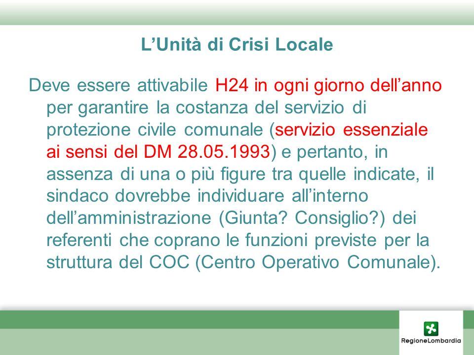 LUnità di Crisi Locale Deve essere attivabile H24 in ogni giorno dellanno per garantire la costanza del servizio di protezione civile comunale (serviz