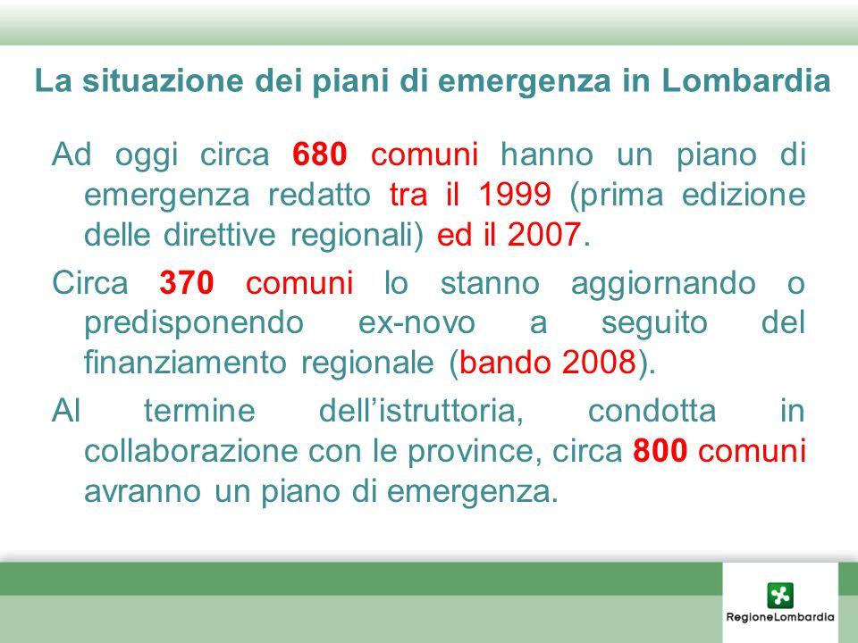 La situazione dei piani di emergenza in Lombardia Ad oggi circa 680 comuni hanno un piano di emergenza redatto tra il 1999 (prima edizione delle diret