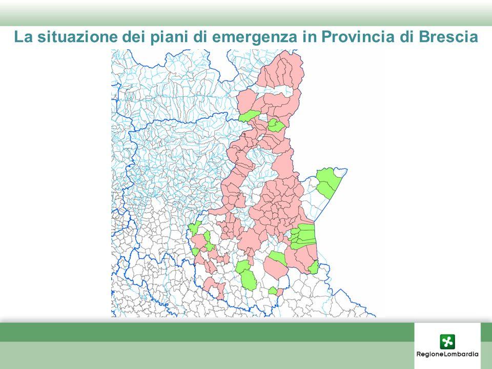 La situazione dei piani di emergenza in Provincia di Brescia