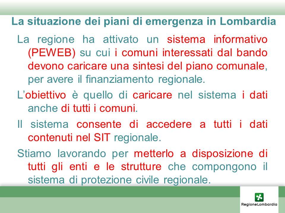 La situazione dei piani di emergenza in Lombardia La regione ha attivato un sistema informativo (PEWEB) su cui i comuni interessati dal bando devono c