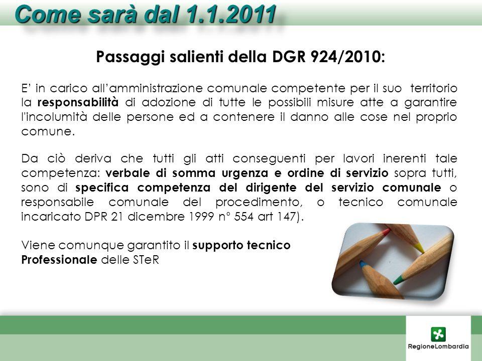 Passaggi salienti della DGR 924/2010: E in carico allamministrazione comunale competente per il suo territorio la responsabilità di adozione di tutte