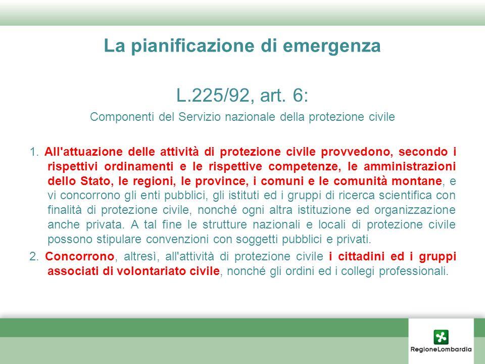 La pianificazione di emergenza L.225/92, art. 6: Componenti del Servizio nazionale della protezione civile 1. All'attuazione delle attività di protezi