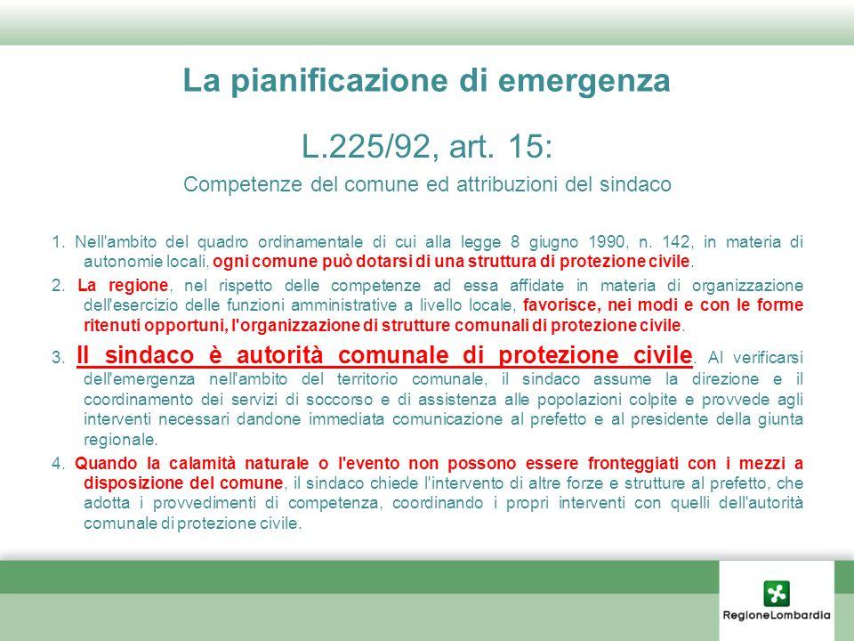 La pianificazione di emergenza L.225/92, art. 15: Competenze del comune ed attribuzioni del sindaco 1. Nell'ambito del quadro ordinamentale di cui all