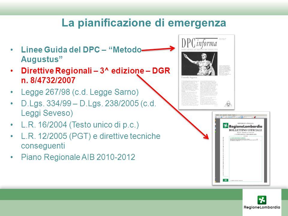 La pianificazione di emergenza Linee Guida del DPC – Metodo Augustus Direttive Regionali – 3^ edizione – DGR n. 8/4732/2007 Legge 267/98 (c.d. Legge S