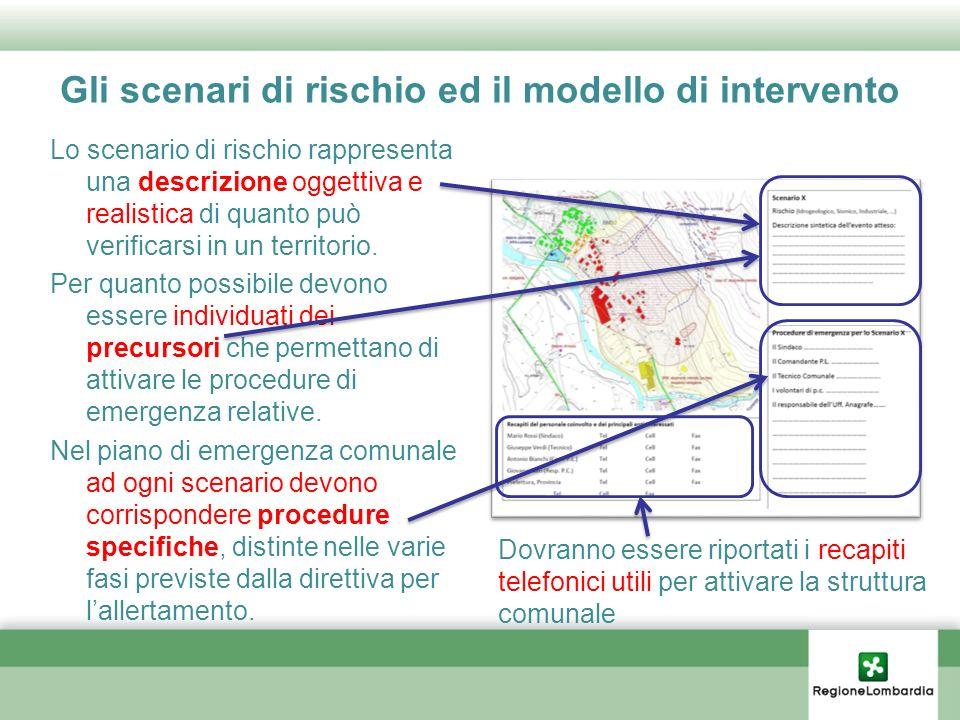 Gli scenari di rischio ed il modello di intervento Lo scenario di rischio rappresenta una descrizione oggettiva e realistica di quanto può verificarsi