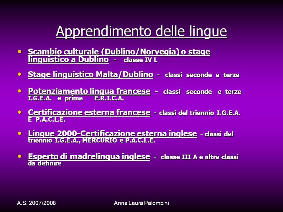 A.S. 2007/2008Anna Laura Palombini Apprendimento delle lingue Scambio culturale (Dublino/Norvegia) o stage linguistico a Dublino - classe IV L Scambio