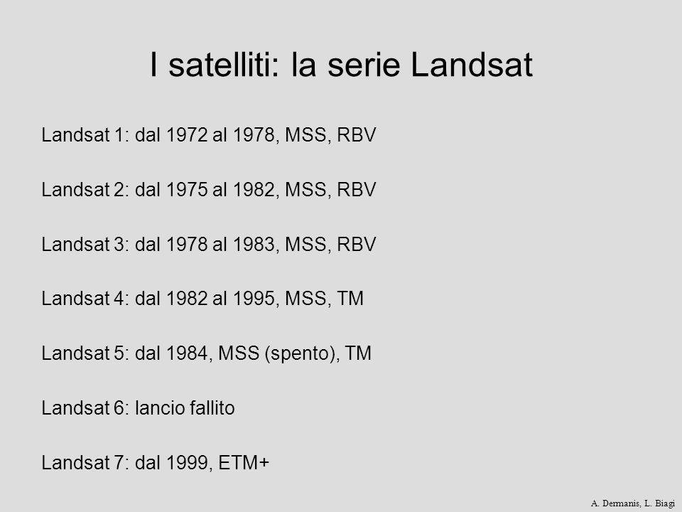 I satelliti: la serie Landsat Landsat 1: dal 1972 al 1978, MSS, RBV Landsat 2: dal 1975 al 1982, MSS, RBV Landsat 3: dal 1978 al 1983, MSS, RBV Landsa