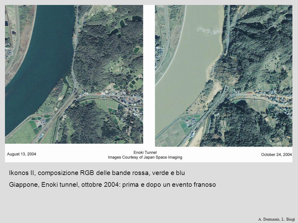 Ikonos II, composizione RGB delle bande rossa, verde e blu Giappone, Enoki tunnel, ottobre 2004: prima e dopo un evento franoso A. Dermanis, L. Biagi