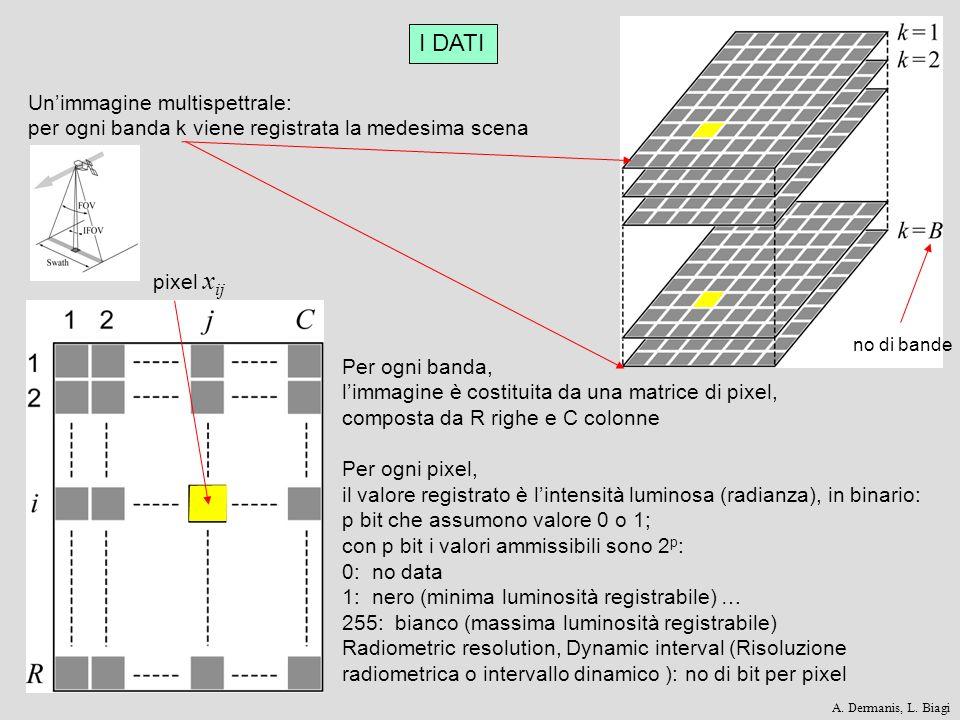 I DATI Unimmagine multispettrale: per ogni banda k viene registrata la medesima scena no di bande Per ogni banda, limmagine è costituita da una matric