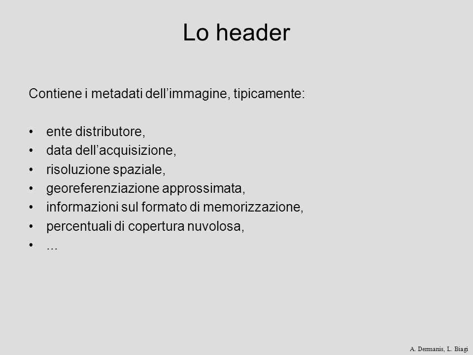 Lo header Contiene i metadati dellimmagine, tipicamente: ente distributore, data dellacquisizione, risoluzione spaziale, georeferenziazione approssima
