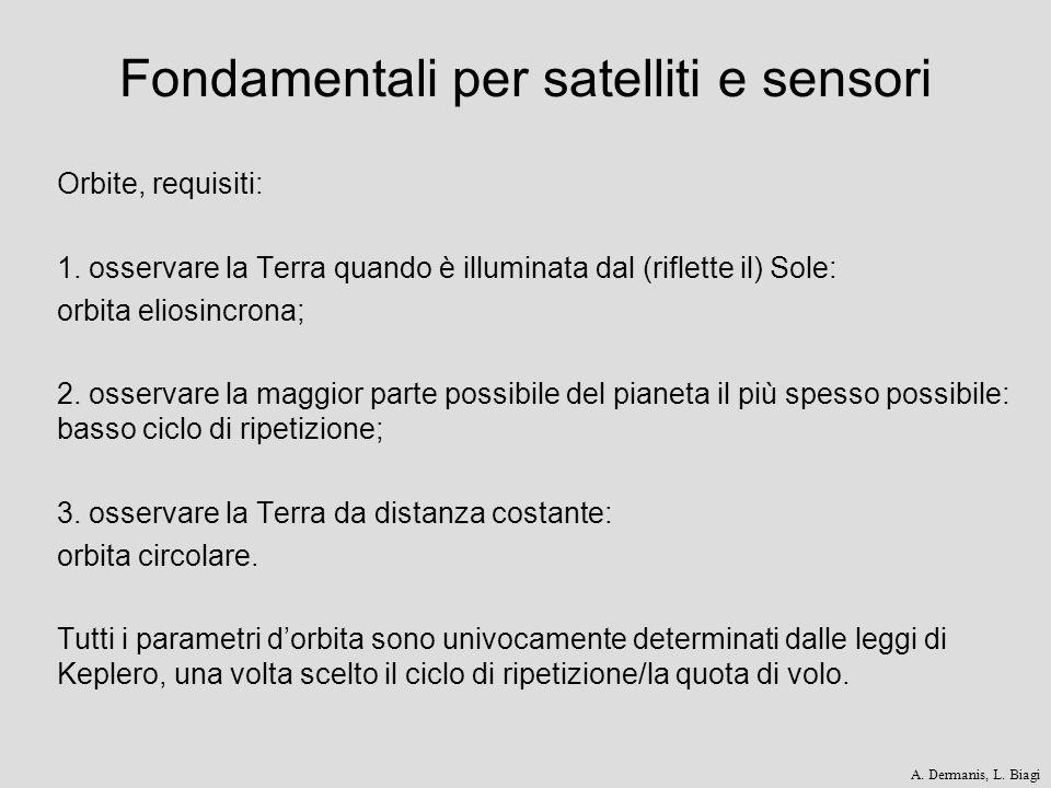Fondamentali per satelliti e sensori Orbite, requisiti: 1. osservare la Terra quando è illuminata dal (riflette il) Sole: orbita eliosincrona; 2. osse